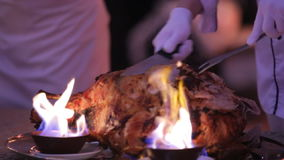 Dish from the chef in the fire in restaurant.  stock footage