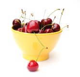 Dish of cherries. Isolated on white background stock photos