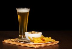 Dish with chips, pistachios and salty fish, beer Stock Images