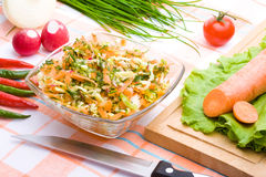 Dish of chopped vegetables. On a table royalty free stock photos