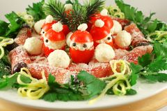 Christmas Appetizer with Santa Claus tomatoes Royalty Free Stock Image