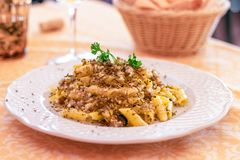 Dish of classic Italian pasta with black truffle and sheep cheese and olive oil. Selective focus, close-up. royalty free stock image