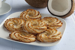 Dish with coconut cookies