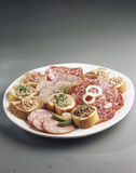 Dish of cold cuts Royalty Free Stock Photos