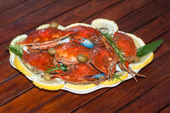 Dish with cooked crabs Royalty Free Stock Images