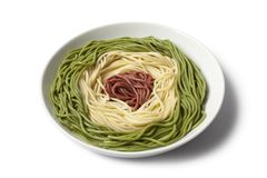 Dish with cooked Spaghetti tricolore Royalty Free Stock Image