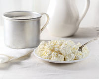 Dish of cottage cheese, a mug and a milk jug on a white background Royalty Free Stock Photos