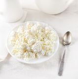 Dish of cottage cheese, a teaspoon on a white background Royalty Free Stock Photo