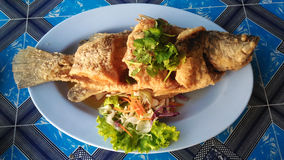 A dish of crispy Thai style deep fried whole sea bass fish served Royalty Free Stock Photo