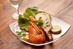Dish with cut lobster Royalty Free Stock Photo