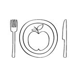 Dish and cutlery with apple fresh fruit Stock Image