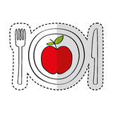 Dish and cutlery with apple fresh fruit Royalty Free Stock Photos