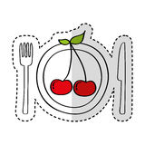 Dish and cutlery with cherry fresh fruit Royalty Free Stock Photography
