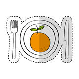 Dish and cutlery with fresh fruit Royalty Free Stock Photos
