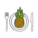 Dish and cutlery with pineapple fresh fruit Stock Photos