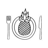 Dish and cutlery with pineapple fresh fruit Royalty Free Stock Images