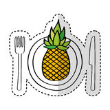 Dish and cutlery with pineapple fresh fruit Stock Image
