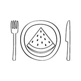 Dish and cutlery with watermelon fresh fruit Stock Images