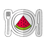 Dish and cutlery with watermelon fresh fruit Royalty Free Stock Photo