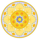 Dish decoration with abstract orange flower Royalty Free Stock Images