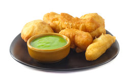Dish of deep-fried doughstick on white background Stock Photos