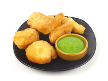Dish of deep-fried doughstick on white background Stock Photo