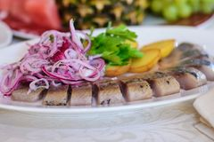 Dish with herring and onion. A dish of delicious fish herring and sliced pink onion with the potatoes and greens on the holiday table Royalty Free Stock Photography