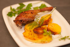 Dish of duck with potatoes Stock Images