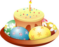 Dish with Easter cake and eggs. stock illustration