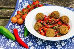 Dish of falafel with chillies Stock Image