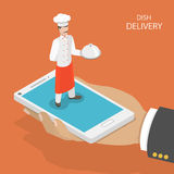 Dish fast delivery flat isometric vector concept. Royalty Free Stock Images