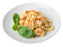 A dish of fettuccine with salmon and caviar Stock Photography