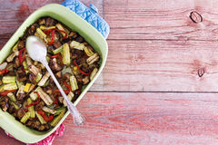 Dish filled with healthy roasted fresh vegetables Stock Images