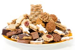 Dish Filled With Christmas Cookies Royalty Free Stock Images