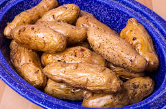 Dish of fingerling potatoes baked in oven Royalty Free Stock Photography