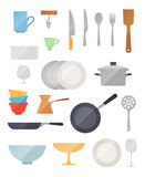 Dish flat vector set Stock Photography