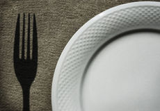Dish and Fork. A dish with a shadow of a fork Stock Photo