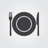 Dish fork and knife - vector icon.  royalty free illustration