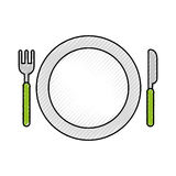 Dish with fork and knife. Vector illustration design vector illustration