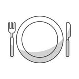 Dish with fork and knife. Vector illustration design Royalty Free Stock Photos