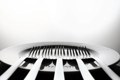 Dish and forks. Five silver forks aligned over a dish royalty free stock images