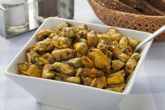 Dish with fresh baked mussels Royalty Free Stock Photos