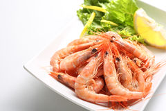 Dish of fresh boiled prawns Royalty Free Stock Images