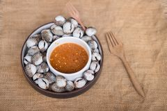 A dish of fresh cockle shells. With spicy dip sauce Royalty Free Stock Photos