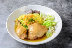 Dish with fresh homemade chicken soup, noodles and vegetables royalty free stock photography