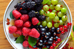 Dish of fresh seasonal berries Stock Photography
