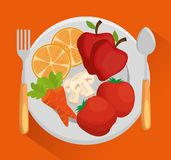 Dish with fresh vegetables. Vector illustration design Royalty Free Stock Photos