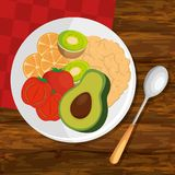 Dish with fresh vegetables. Vector illustration design Royalty Free Stock Images