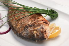 Dish of fried fish Stock Photos