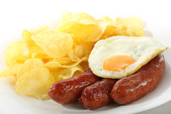 Dish fried sausages isolated Stock Photo